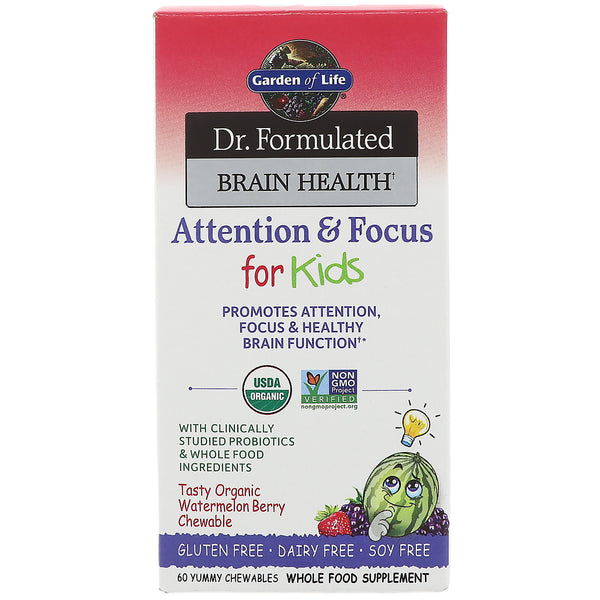 Garden of Life Dr. Formulated Brain Health Organic Attention/Focus Kids Chewables, 60 tabs.