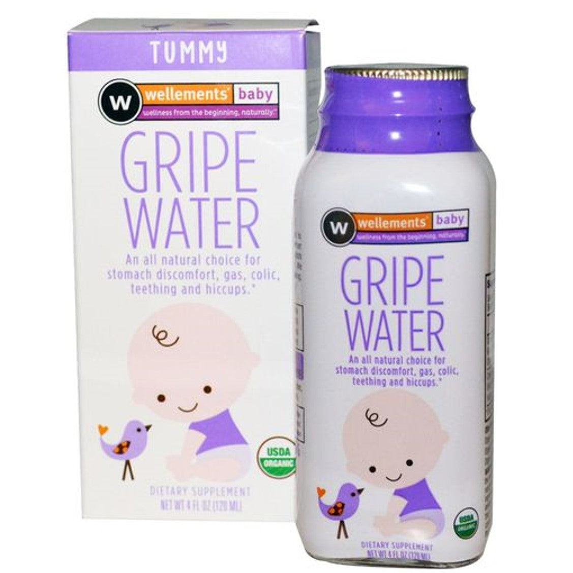 Wellements Gripewater for Colic (Organic), 120ml.-NaturesWisdom