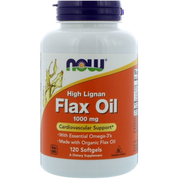NOW Flax Oil High Lignan 1000 mg (Organic), 120 sgls.