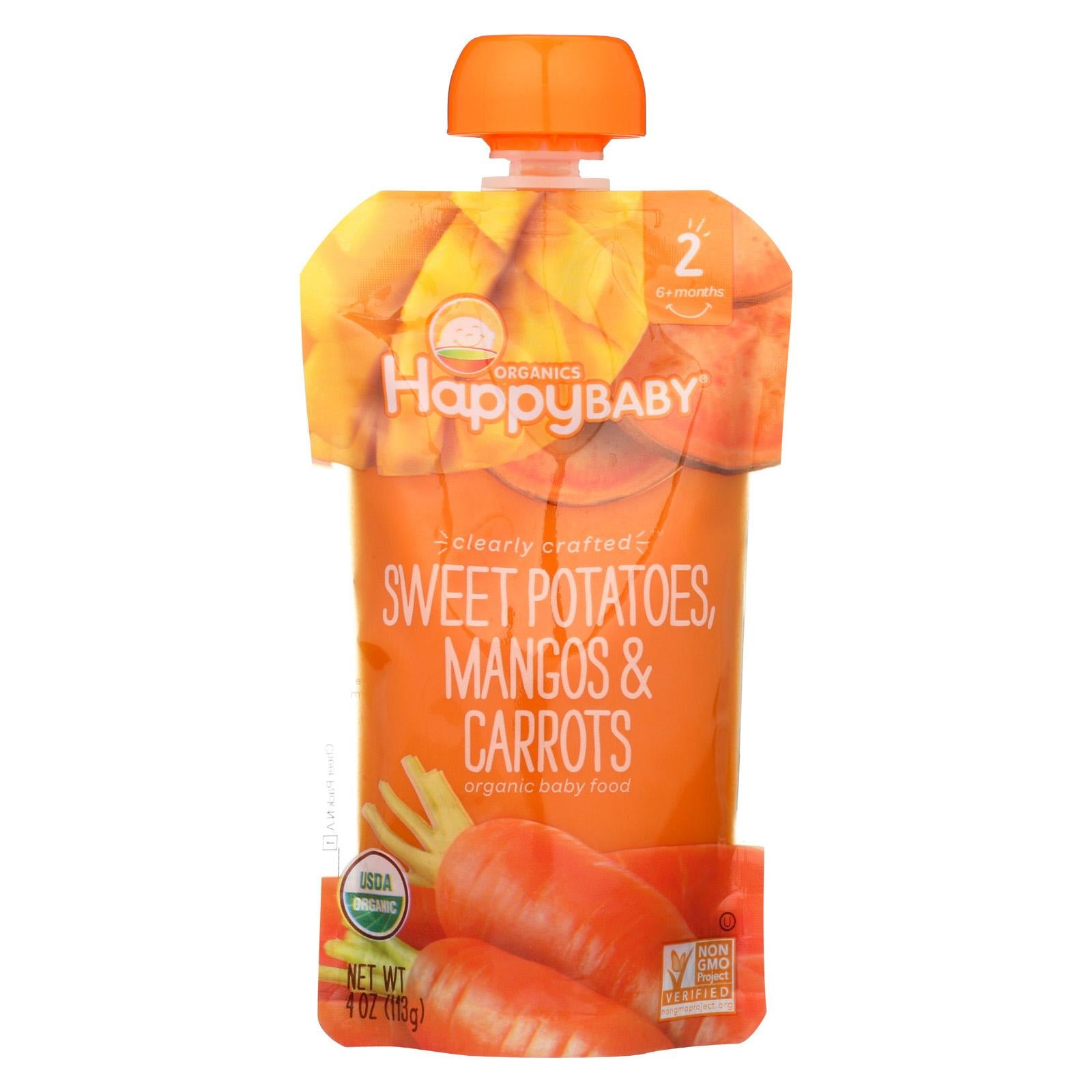 Happy Family Happy Baby Stage 2 Clearly Crafted Meals - Sweet Potatoes Mangos & Carrots, 113 g.-NaturesWisdom