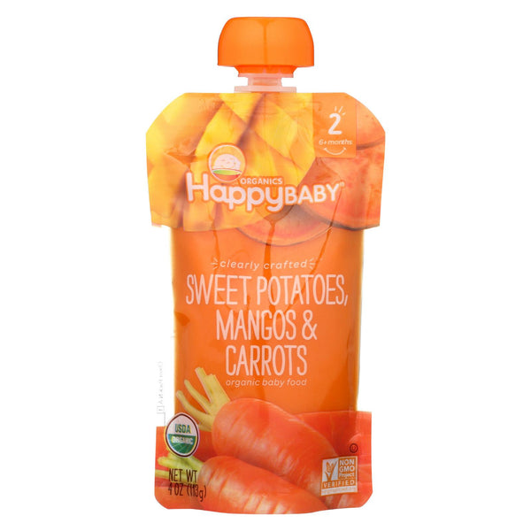 Happy Family Happy Baby Stage 2 Clearly Crafted Meals - Sweet Potatoes Mangos & Carrots, 113 g.