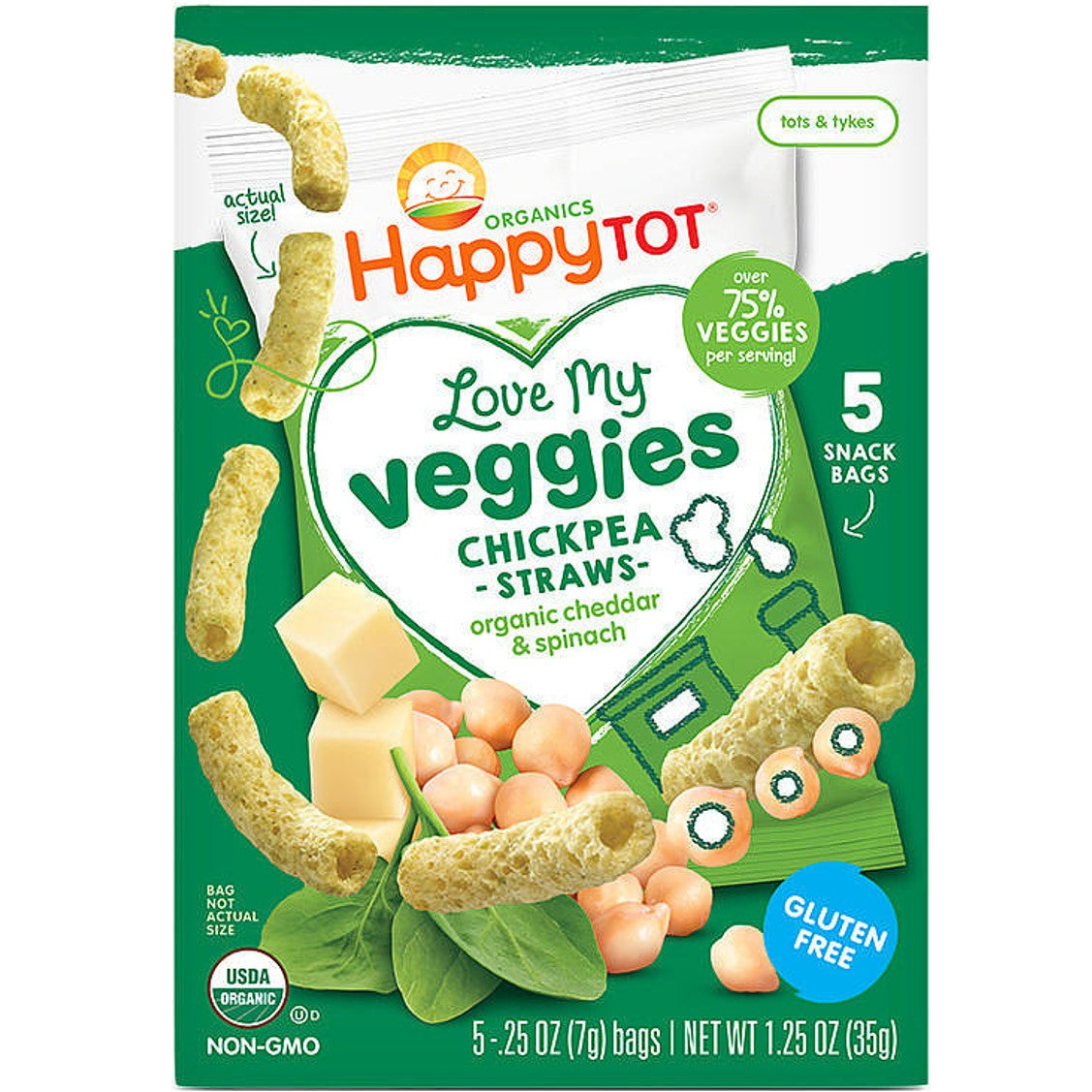 Happy Family HT LMV Chickpea Straws - Cheddar & Spinach, 5 x 7g.-NaturesWisdom