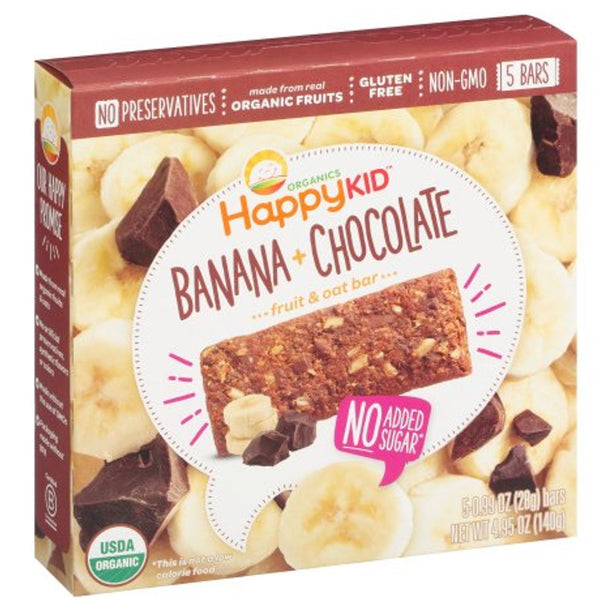 Happy Family Happy Kid Fruit and Oat Bar - Banana & Chocolate, 140 g.