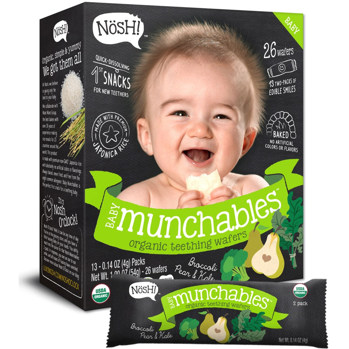 Nosh Baby Munchables - Broccoli, Pear & Kale, 13 x 4g.-NaturesWisdom