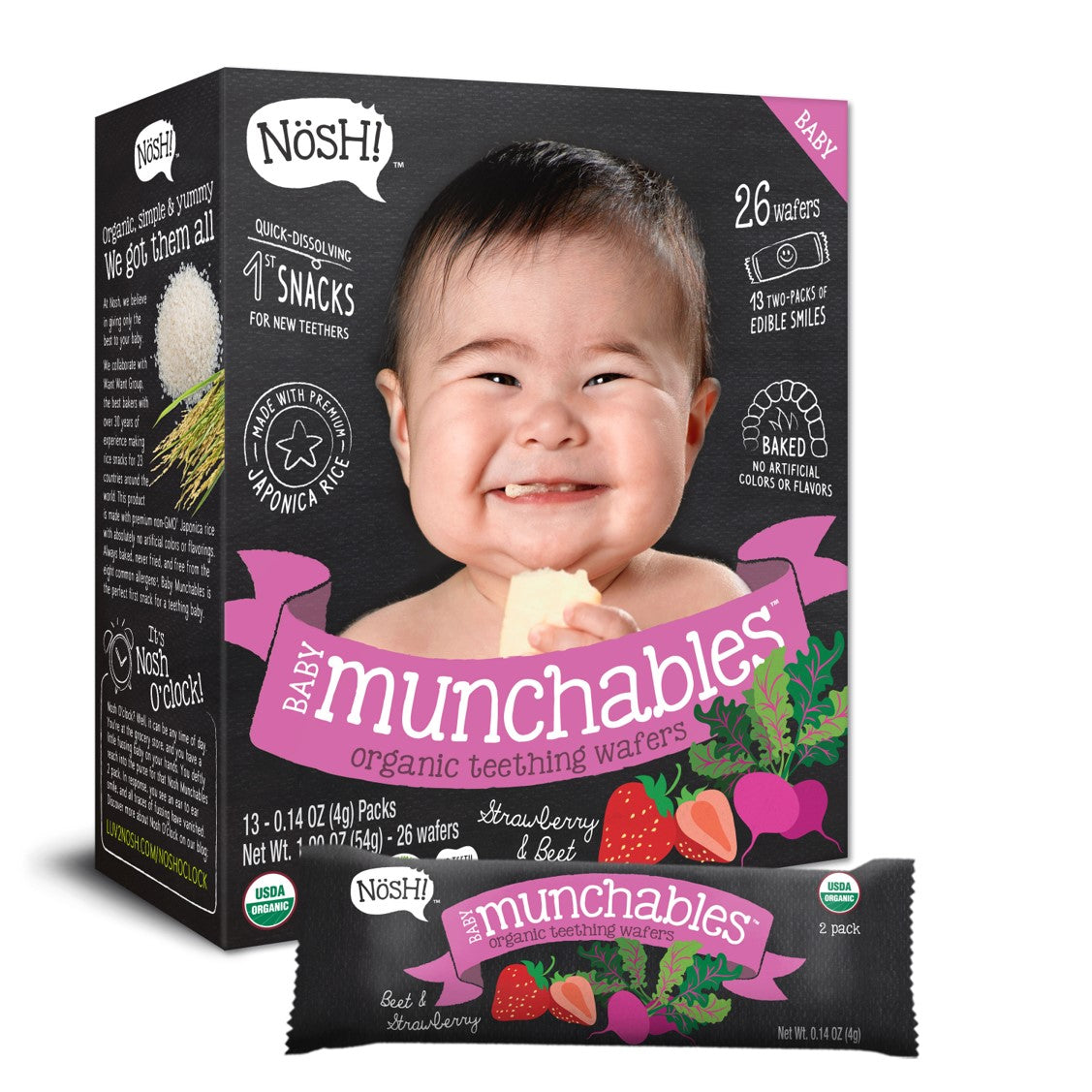 Nosh Baby Munchables - Strawberry & Beet, 13 x 4g.-NaturesWisdom