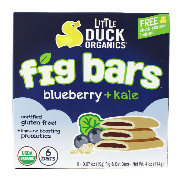 Little Duck Organics Fig Bars - Blueberry & Kale, 6 x 19g.
