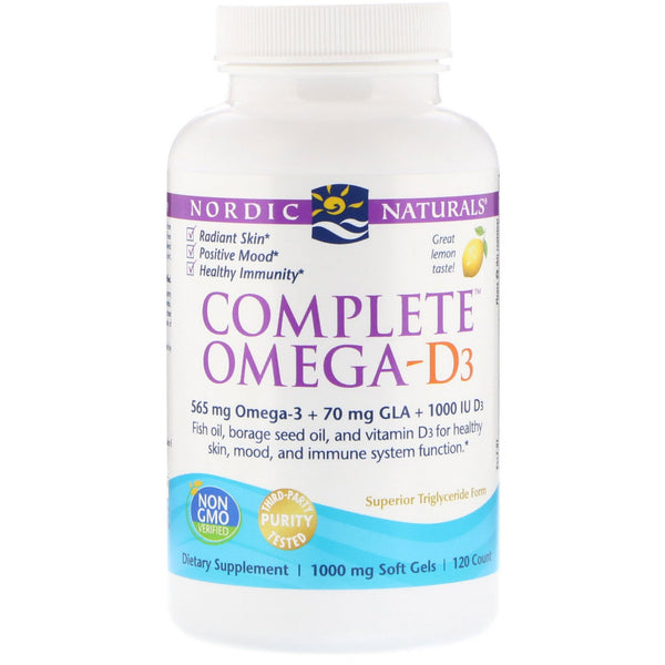 [ 2 for 20% off]Nordic Naturals Complete Omega-D3 1000 mg - Lemon, 120 sgls.