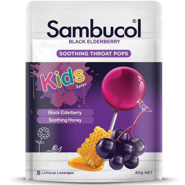 Sambucol Soothing Throat Pops for Kids, 8 pops.