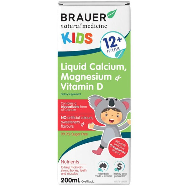 Brauer Kids Liquid Calcium, Magnesium and Vitamin D, 200ml.
