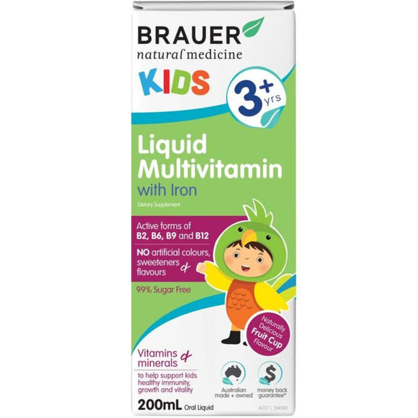 Brauer Kids Liquid Multivitamin with Iron, 200ml.