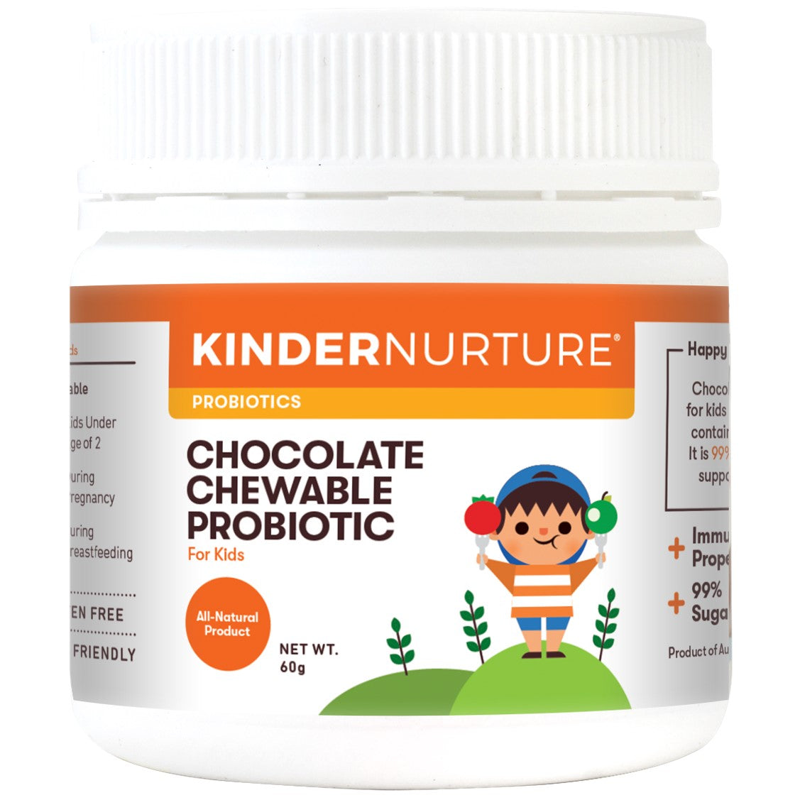 KinderNurture Chocolate Chewable Probiotic Tablets (Sugar Free), 60tabs-NaturesWisdom