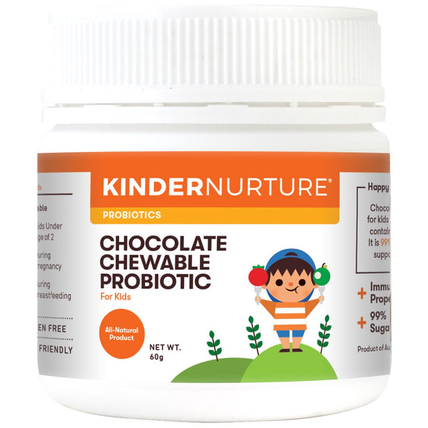 KinderNurture Chocolate Chewable Probiotic Tablets (Sugar Free), 60tabs