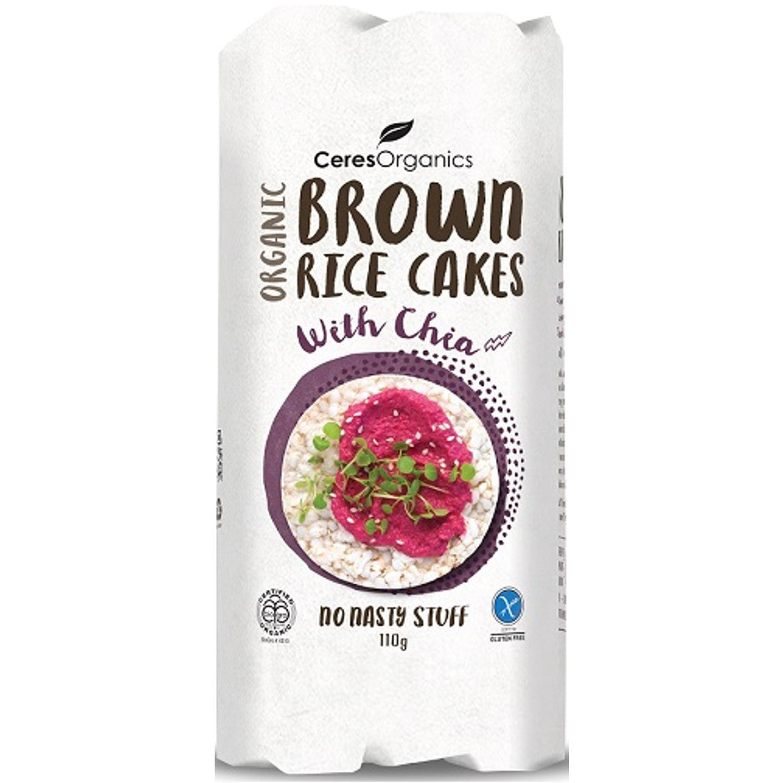 Ceres Organics Brown Rice Cakes - with Chia, 110 g.