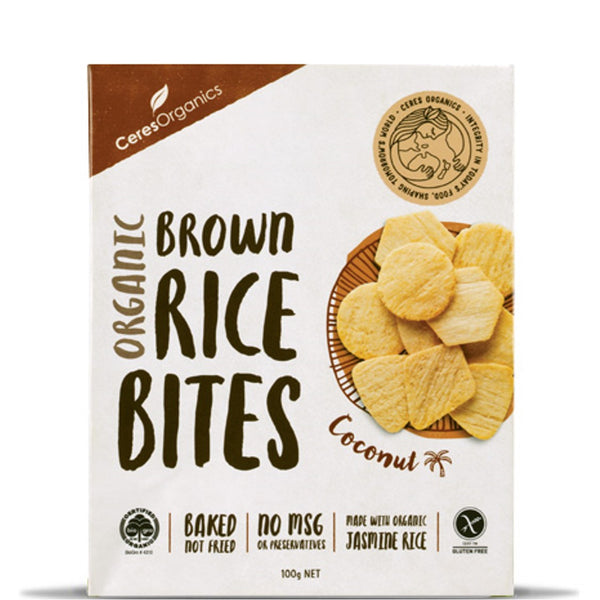 Ceres Organics Rice Bites - Coconut, 100 g.