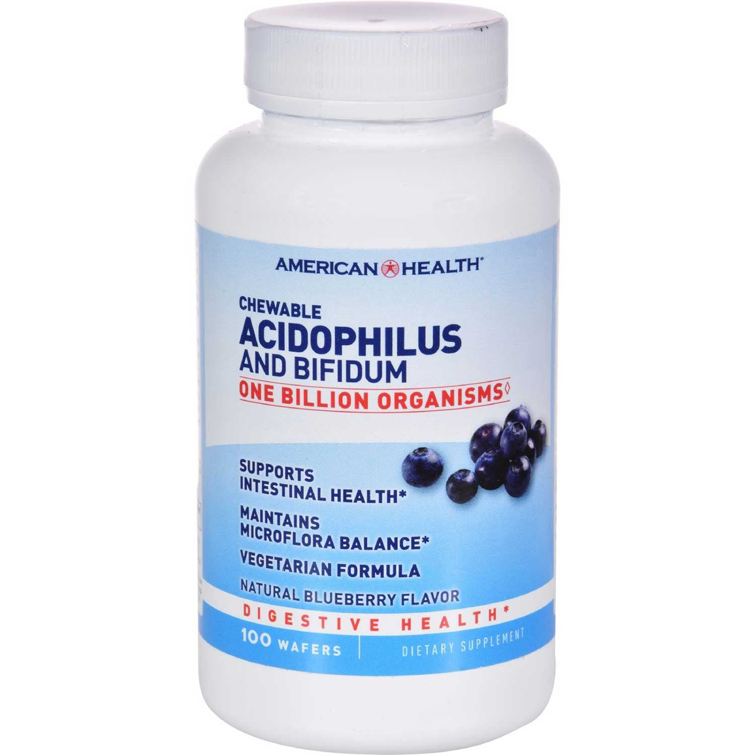 American Health Chewable Acidophilus w/Bifidus - Blueberry, 100 tabs.-NaturesWisdom