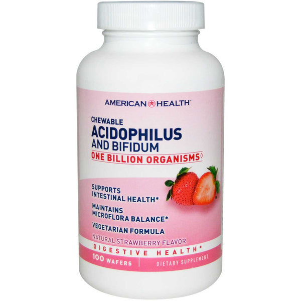 American Health Chewable Acidophilus w/Bifidus - Strawberry, 100 tabs.