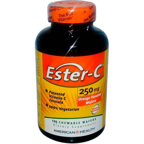 American Health Ester-C 250 mg Chewables Wafers - Orange Flavor Veg., 125 wafers