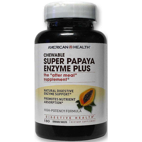 American Health Super Papaya Enzyme Plus (Chewable), 180 tabs.