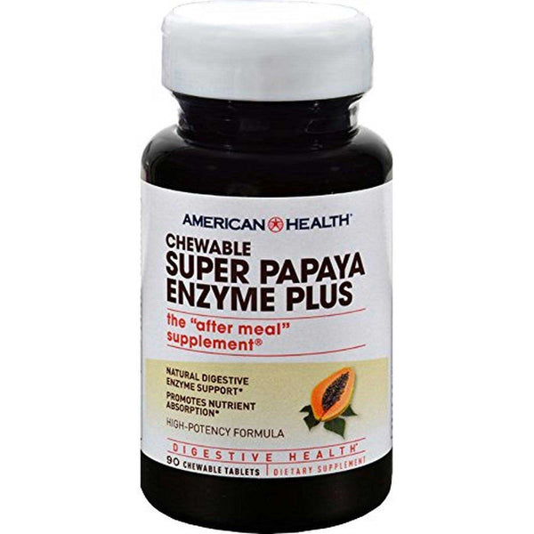 American Health Super Papaya Enzyme Plus (Chewable), 90 tabs.