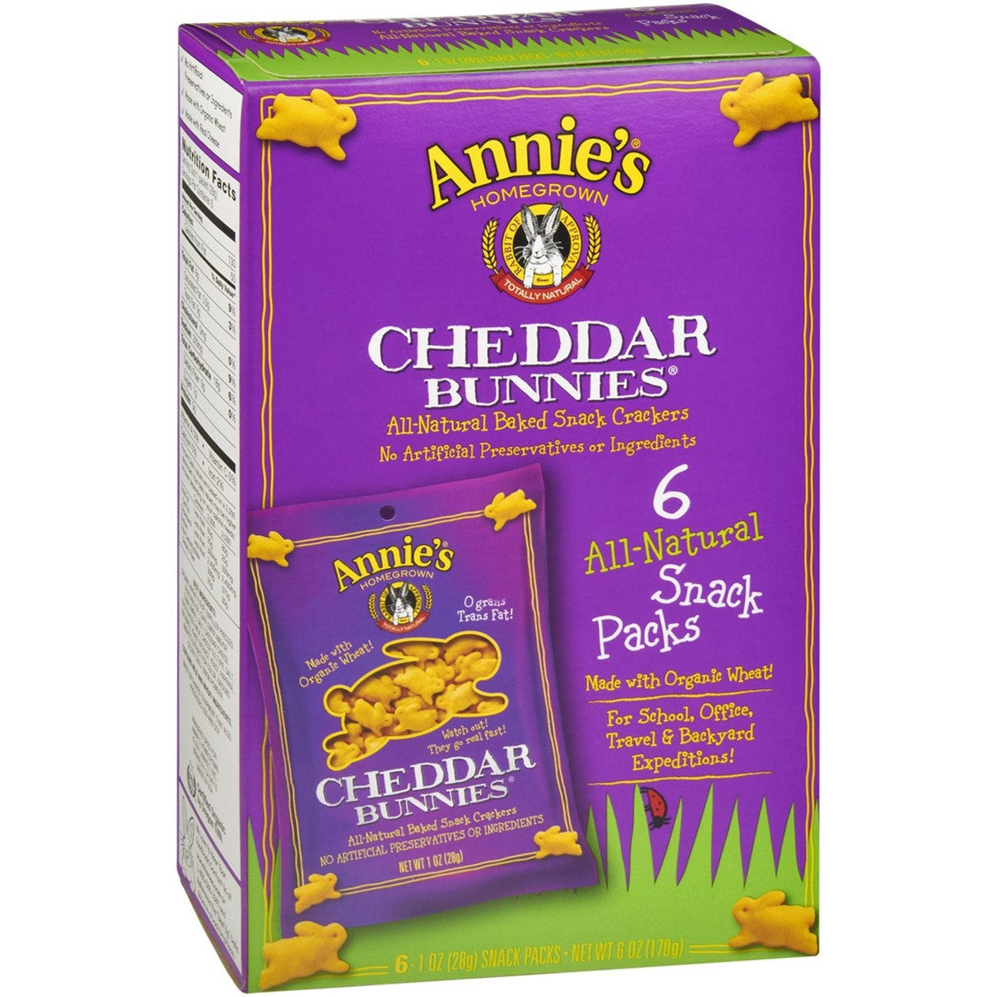 Annie's Homegrown Cheddar Bunnies - Original (Snack Pack), 6 x 28g.