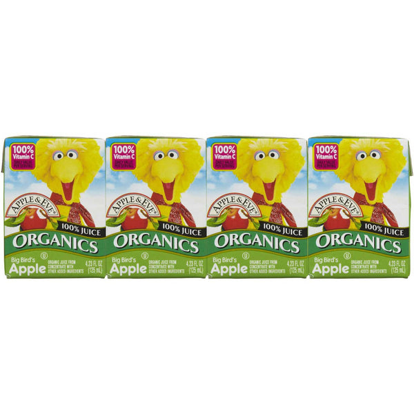Apple & Eve Sesame Street Organics - Big Bird's Apple, 4 x 125 ml. [Expires April 2020]