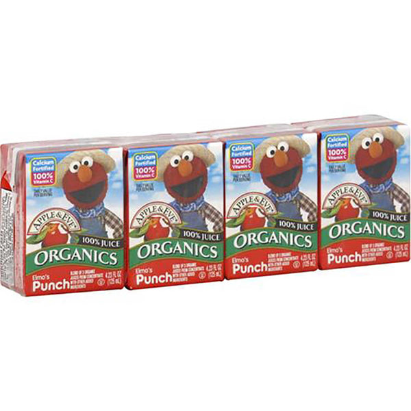 Apple & Eve Sesame Street Organics - Elmo's Punch, 4 x 125 ml. [Expires April 2020]