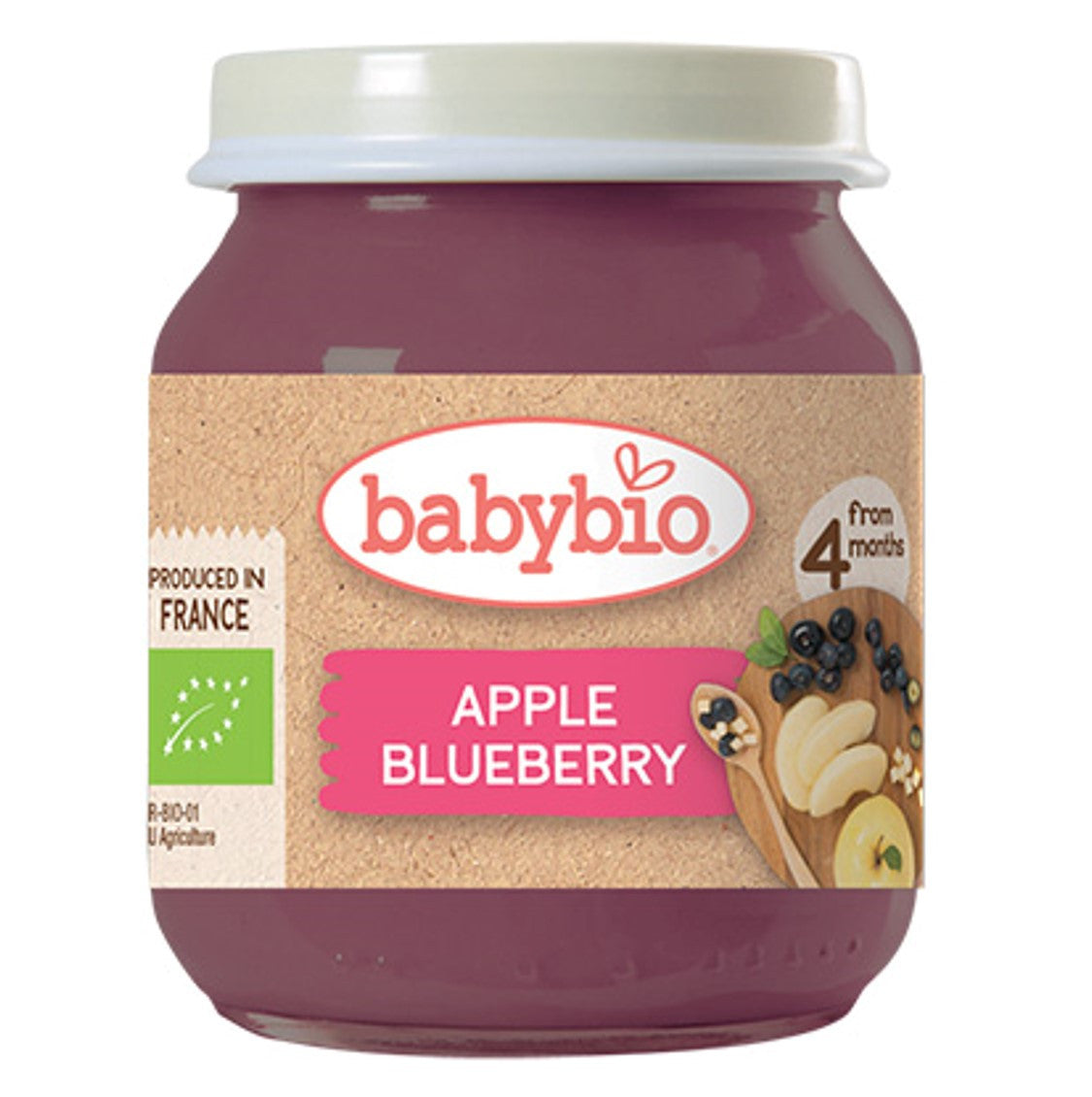 Babybio Organic Apple & Blueberry, 130 g.