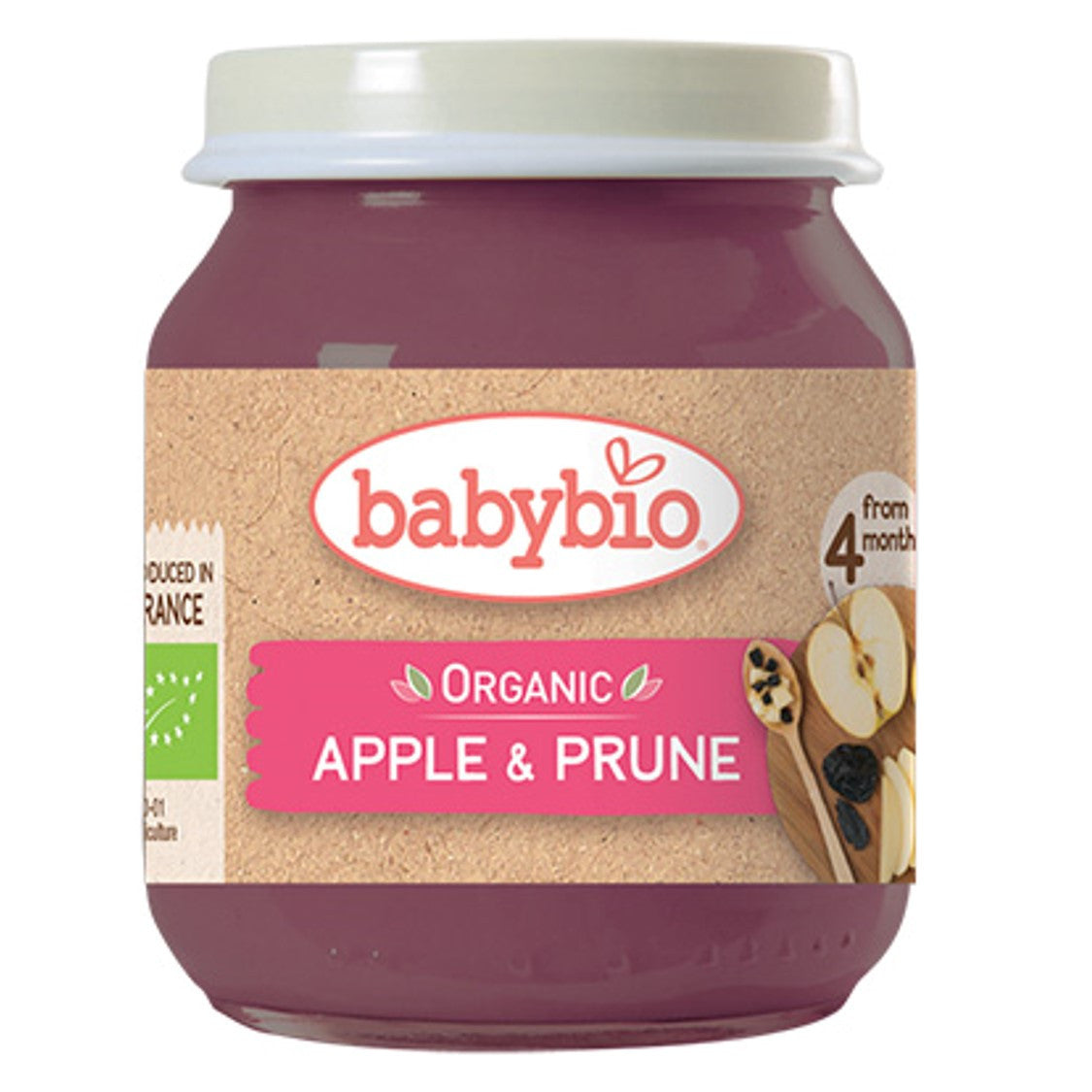 Babybio Organic Apple & Prune, 130 g.-NaturesWisdom