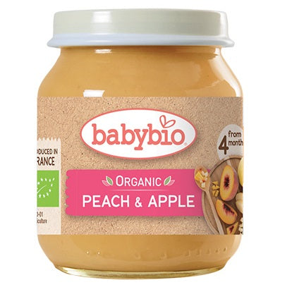 Babybio Organic Peach & Apple, 130 g.