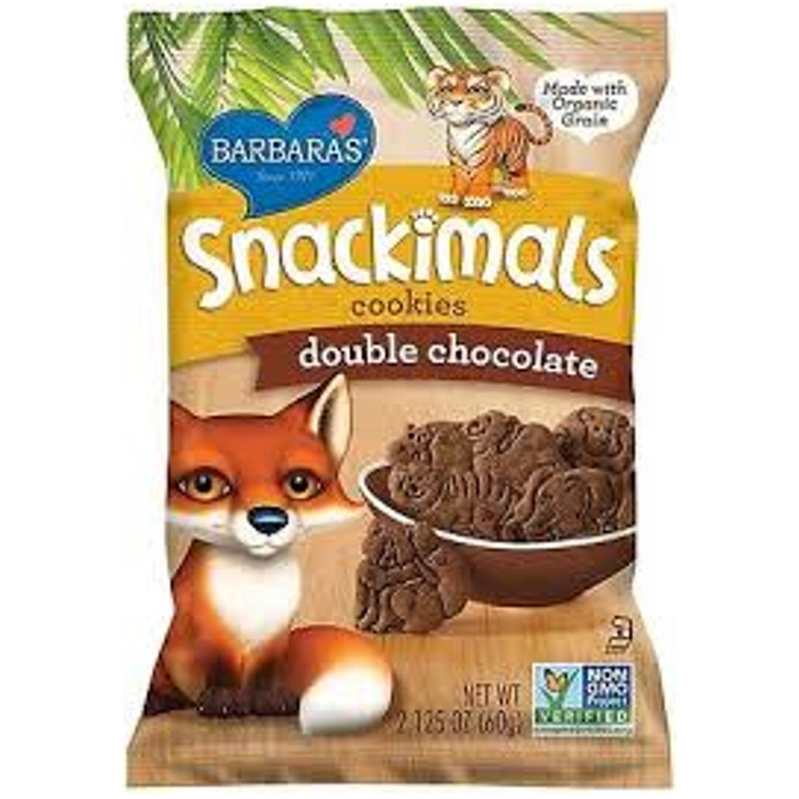 Barbara's Bakery Snackimals Animal Cookies - Double Chocolate, 60g.