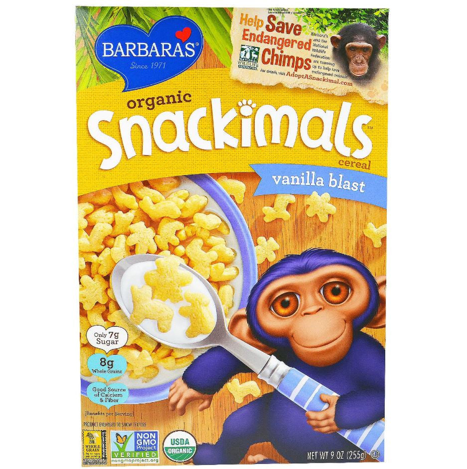 Barbara's Bakery Snackimals Cereal - Vanilla Blast, 255g.