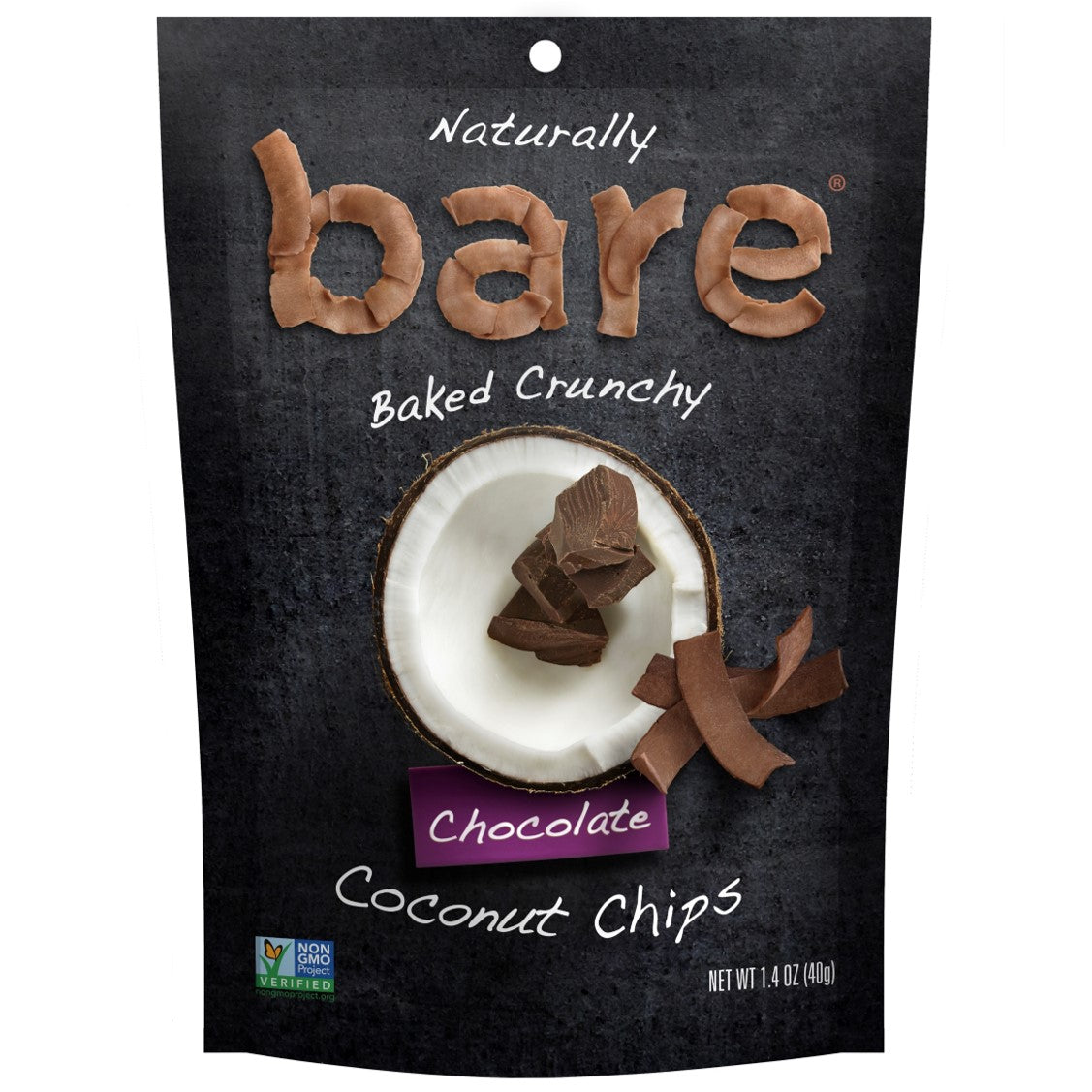 Bare Fruit 100% Natural Crunchy Chocolate Coconut Chips,40g.