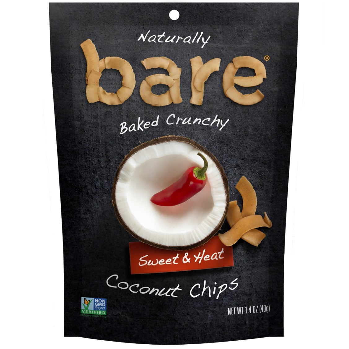 Bare Fruit 100% Natural Crunchy Sweet & Heat Coconut Chips, 40g.