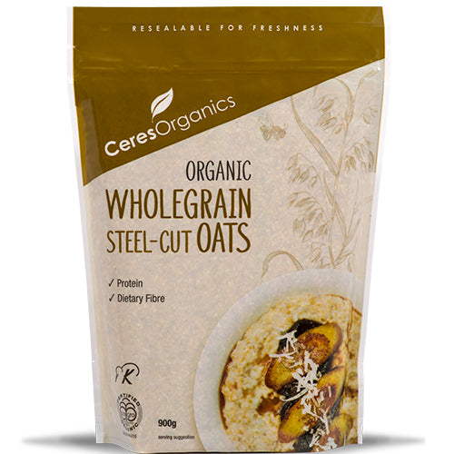 Ceres Organics Oats Steel Cut (Stand Up Pouch), 900 g.
