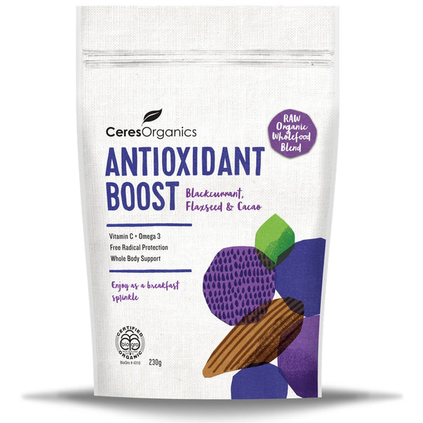 Ceres Organics Antioxidant Boost (Blackcurrant, Flaxseed & Cacao), 230 g.