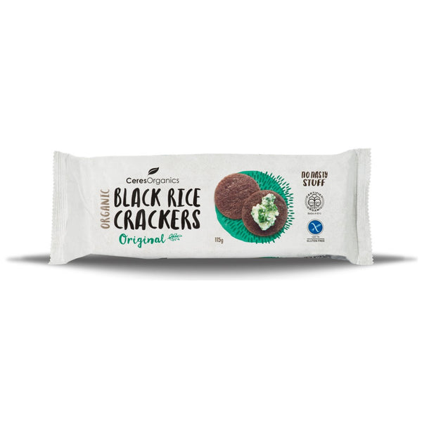 Ceres Organics Black Rice Crackers - Original, 115 g.