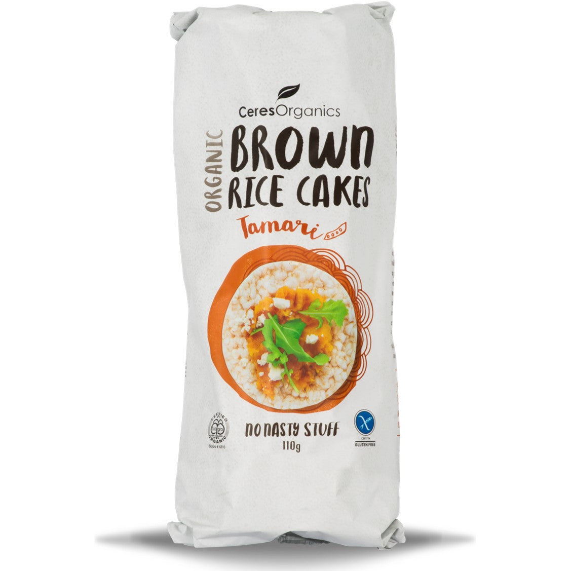 Ceres Organics Brown Rice Cakes - Tamari, 110 g.-NaturesWisdom