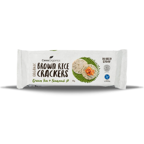 Ceres Organics Brown Rice Crackers - Green Tea & Seaweed, 115 g.