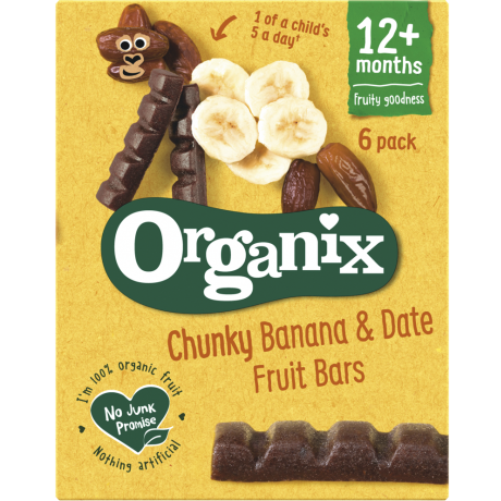 Organix Goodies Organic Chunky Fruit Bars - Banana & Date, 6 x 17 g.