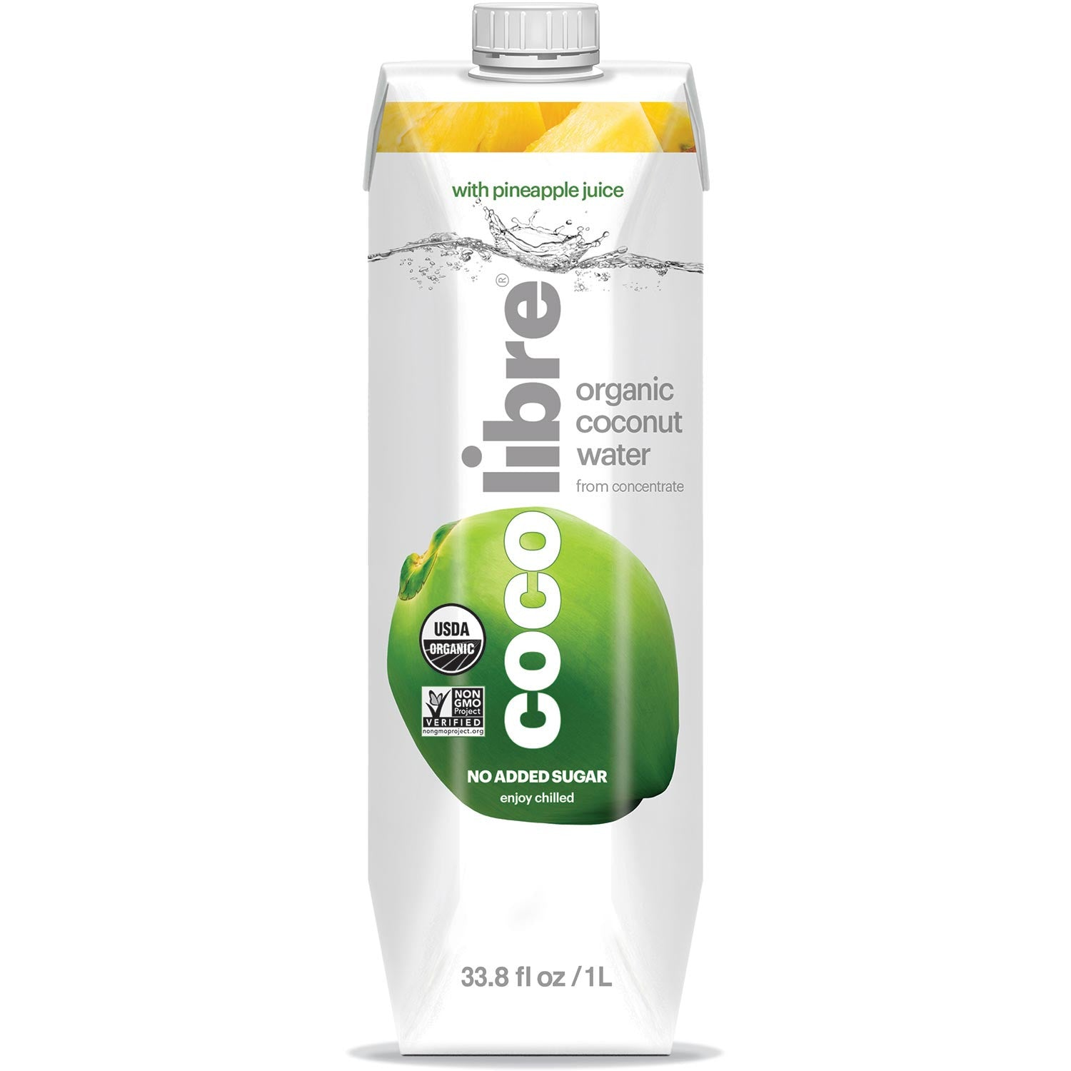 Coco Libre Pure Organic Coconut Water with Pineapple (>95% Organic), 1 L.