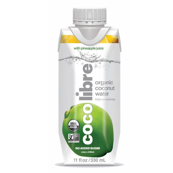 Coco Libre Pure Organic Coconut Water with Pineapple (>95% Organic), 330 ml.