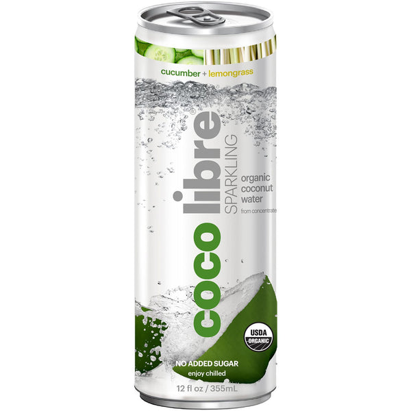 Coco Libre Sparkling Organic Coconut Water (>95% Organic) Cucumber Lemongrass, 355 ml