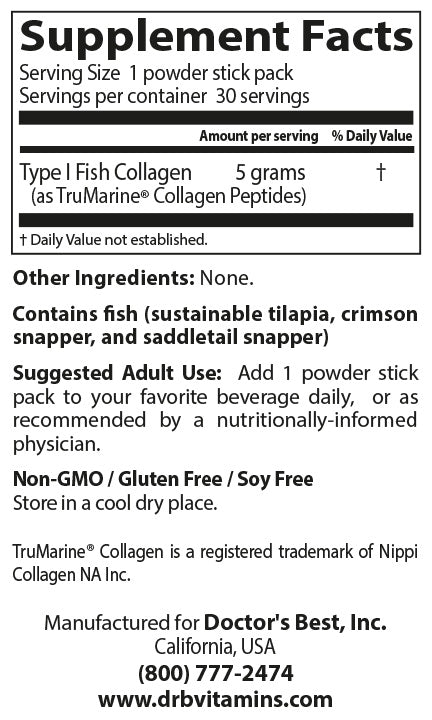 Doctor's Best Fish Collagen with Trumarine Collagen, 30 sticks-NaturesWisdom