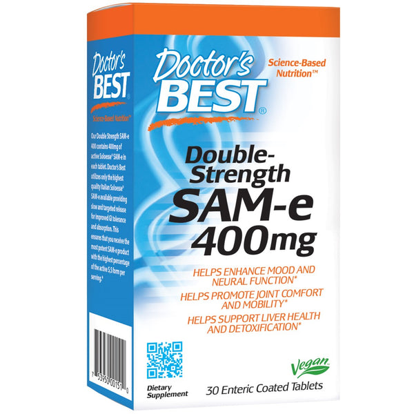 Doctor's Best SAM-e, Double-Strength 400mg, 30 tabs