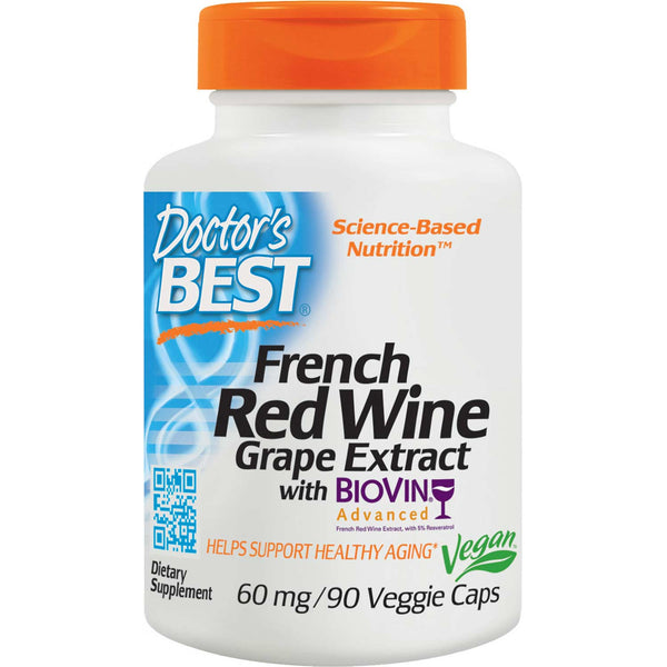 Doctor's Best French Red Wine Grape Extract, 90 vcaps