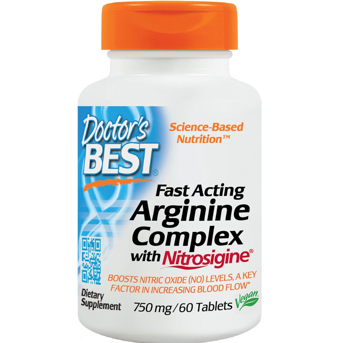 Doctor's Best Fast Acting Arginine Complex with Nitrosigine 750mg, 60 tabs-NaturesWisdom