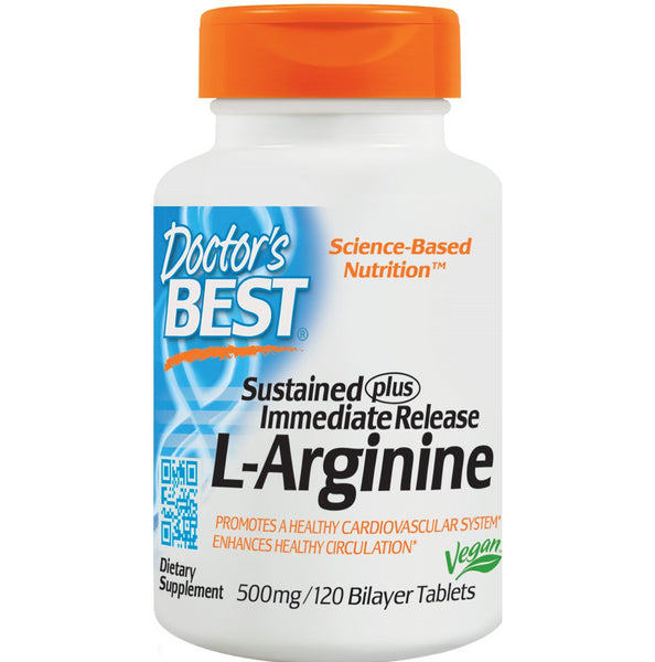 Doctor's Best Sustained Plus Immediate Release L-Arginine 500mg, 120 tabs