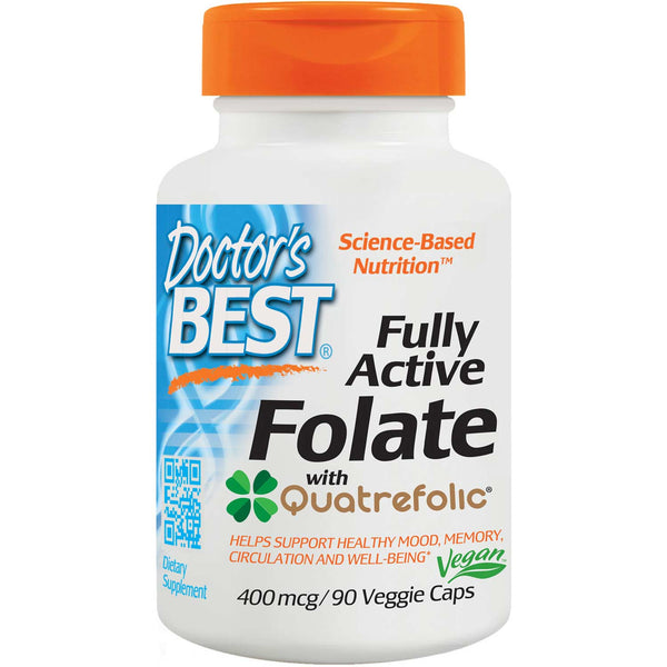 Doctor's Best Fully Active Folate 400mcg, 90 vcaps (exp: Jan 2021)