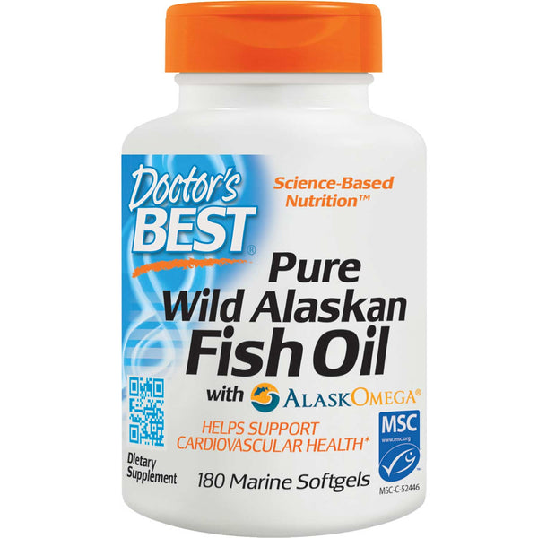 Doctor's Best Pure Wild Alaskan Fish Oil, 180 sgls