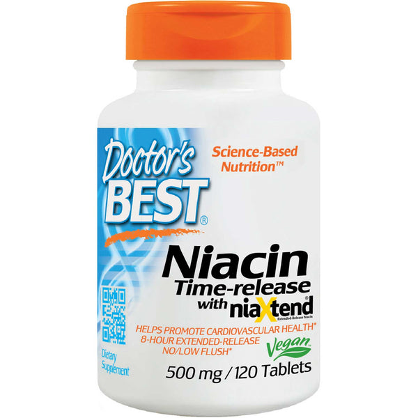 Doctor's Best Time-Release Niacin with niaXtend, 120 tabs